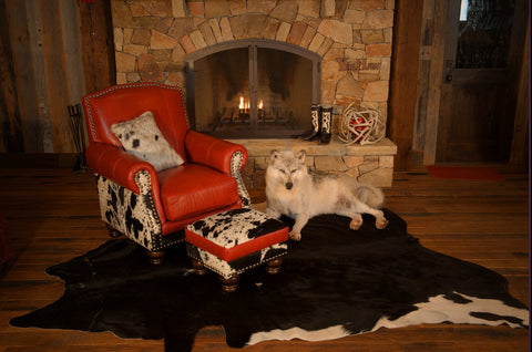 Fireside Leather & Cowhide Chair with Ottoman