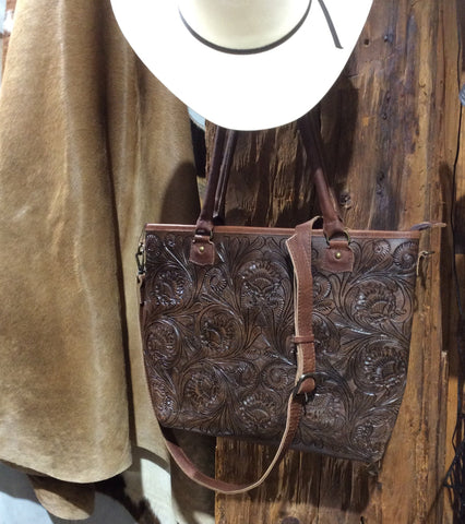 American Darling Tooled Leather Tote