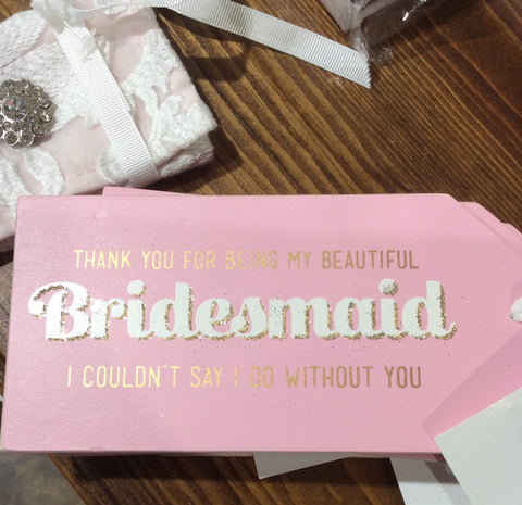 "Wine Bottle Hanging Sign  ""Bridesmaid''"