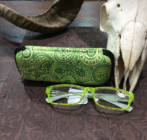 Reading Glasses - Lime Paisley