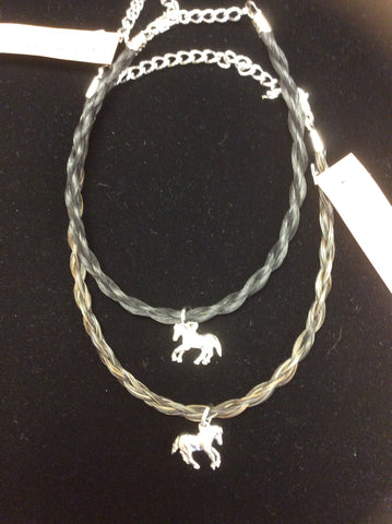 Youth Horse Hair Necklace with Horse Charm
