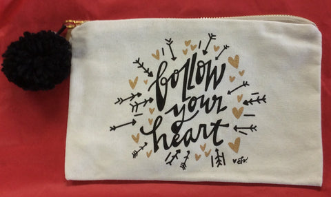 "Canvas Cosmetic Bag ""Follow Your Heart"""