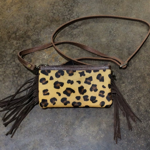 American Darling Leather Cheetah Print Crossbody WITH FRINGE