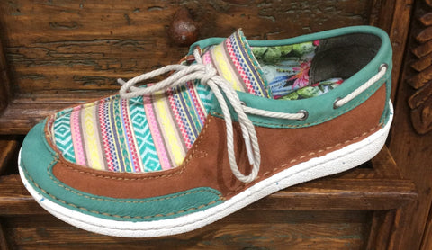 Justin Easy Rider Turquoise Leather Boat Shoe