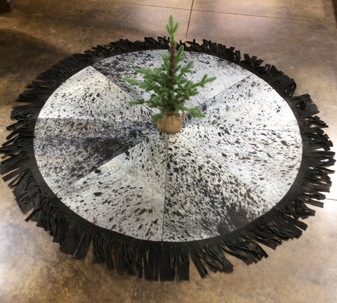 Cowhide Christmas Tree Skirt - Black & White