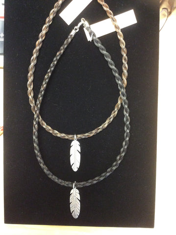 Horse Hair Necklace with Feather charm