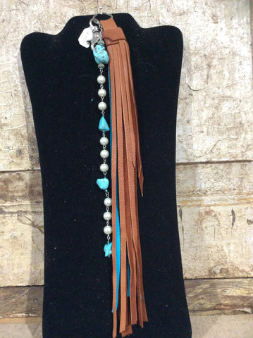 Turquoise and brown beaded leather tassel keychain