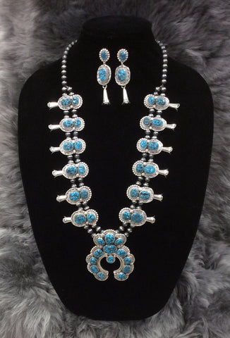 Sterling Silver and Kingman Spiderweb Turquoise Squash Blossom Necklace and Earring Set