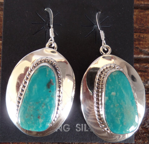Large Oval Concho and Turquoise French Hook Earrings
