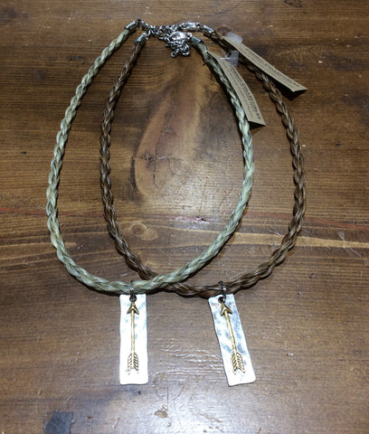 Horse Hair Necklace with Charm Arrow