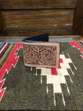 DOUBLE J BIFOLD NATURAL FLORAL TOOLED WALLET