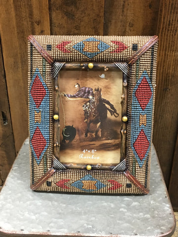 "Faux Beaded Navajo Picture Frame 4""x6"""