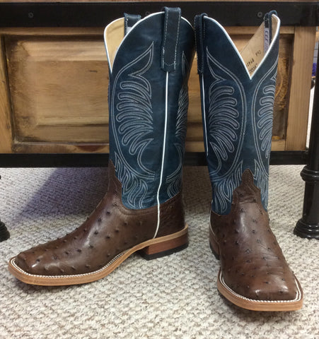 Anderson Bean Full Quill Ostrich w/ Teal Goat Square Toe Boots S3004
