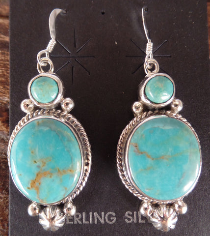 Double Turquoise Fancy Hook Earrings