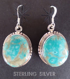 Large Oval Turquoise French Hook Earrings