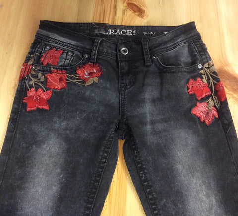 Grace In LA Floral Embroidery Black Skinny Jeans