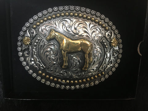 AndWest Silver & Gold Floral Horse Buckle