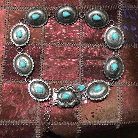 SQUARE AND QVAL TURQUOISE CONCHO BELT