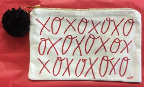 "Canvas Cosmetic Bag ""XOXO"" In Red"