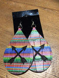 "3"" LEATHER EARRINGS WITH INLAY"