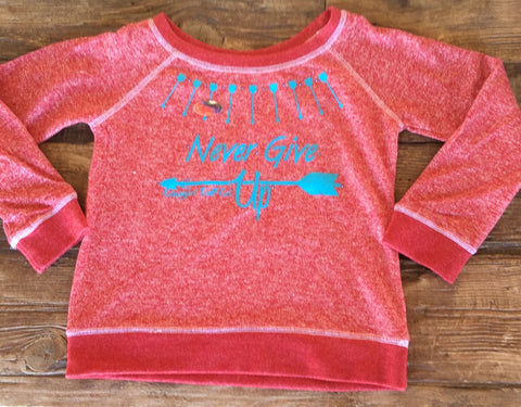 "Girl's Cowgirl Tuff ""Never Give Up"" Sweatshirt"