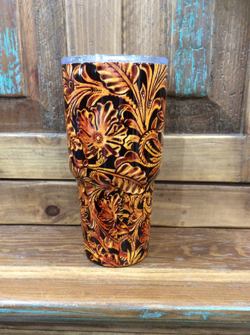 Printed TOOLED LEATHER Tumbler