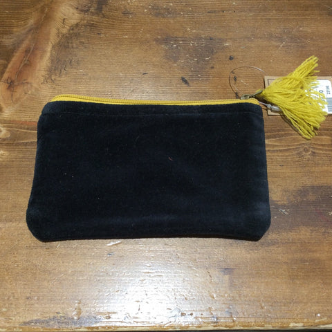 Small velvet zippered pouch
