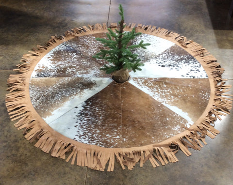 Cowhide Christmas Tree Skirt - Brown & White