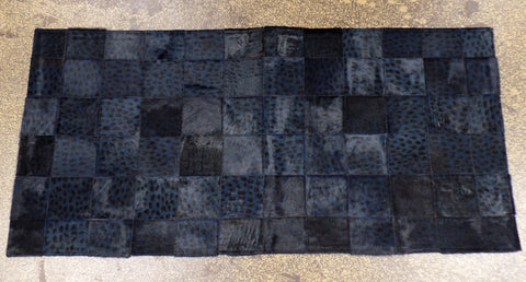 Navy Leopard Stenciled Cowhide Patchwork Rug