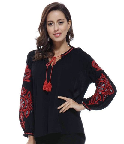 Tassel Tie Embroidered Top in Black