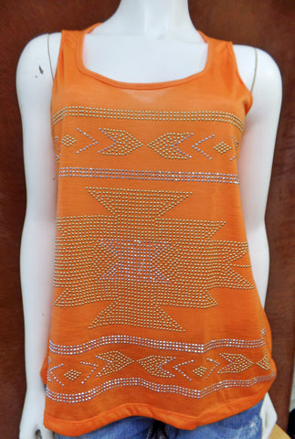 Aztec Gold & Silver Stud Tank With Keyhole Back