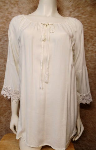 Cream Lace Trim Peasant Top
