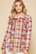 Savanna Jane Red Plaid Embroidered Shirt