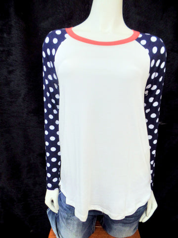 Long Sleeve Navy Polka Dot Top With Coral Trim