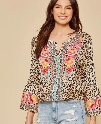 Savanna Jane Leopard Embroidered Peasant Top