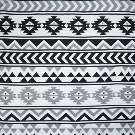 Southwest #7 Black and White Silk Scarf