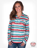 Serape Stripe Faux Button Jersey Shirt