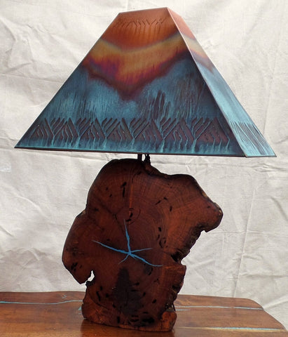 Mesquite w/ Turquoise Inlay Lamps