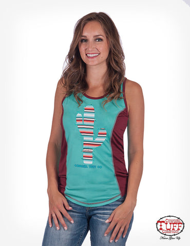 Turquoise and Red Lux Athletic Serape Cactus Tank Top