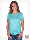 Turquoise Lux Athletic Short Sleeve Top
