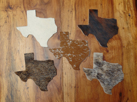 Texas Shaped Cowhide Coasters