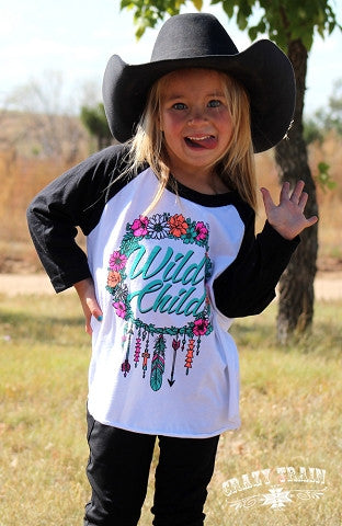 Wild Child Girls Baseball Tee