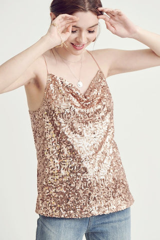 Rose Gold sparkle tank top