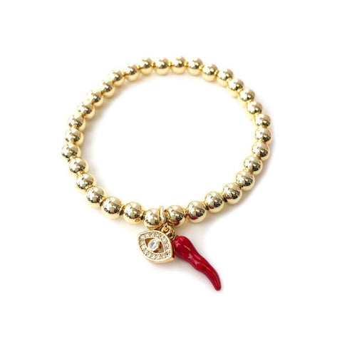 Give 'Em The Horn and Evil Eye Bracelet - Red/Gold
