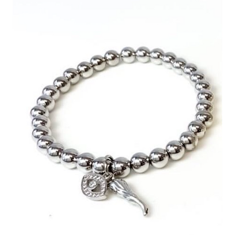 Give 'Em The Horn and Evil Eye Bracelet - Silver