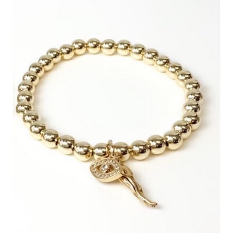 Give 'Em The Horn and Evil Eye Bracelet - Gold