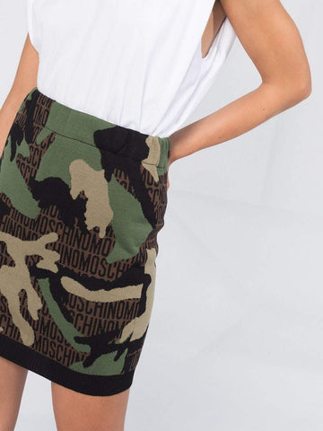 Moschino Camouflage Knitted Mini Skirt