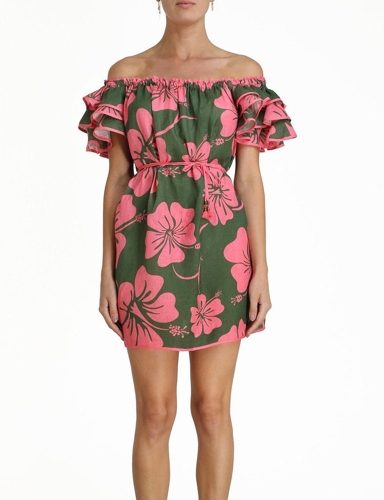 Zimmermann Lulu Ruffle Sleeve Short Dress