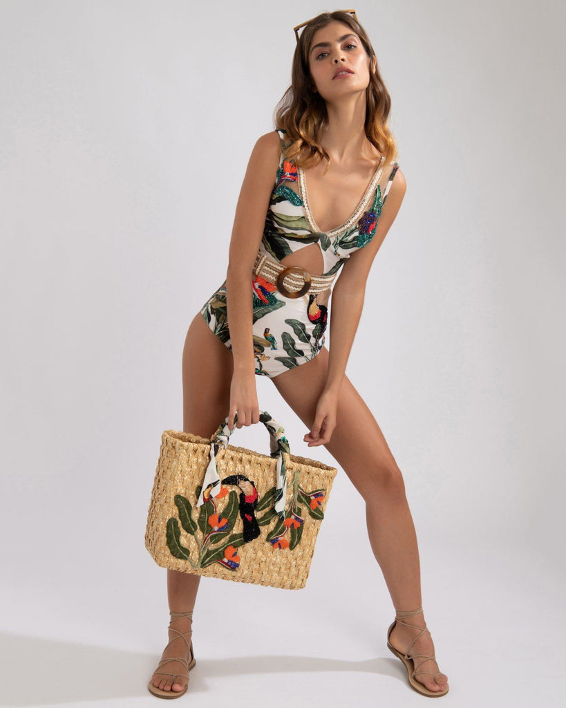 PatBo Hand-Embroidered Tropical One-Piece Swimsuit
