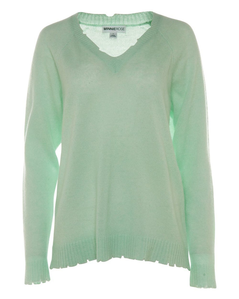 Minnie Rose Cashmere Distressed Long Sleeve V Neck